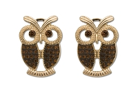 Sassy Clips Gold Owl with Smoked Topaz Crystal Rhinestone Wings & Eyes