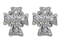 Sassy Clips Petite Silver Cross with AB and Clear Crystal Rhinestones