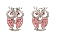 Sassy Clips Silver Owl with Light Rose Crystal Rhinestone Wings & Eyes