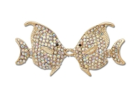 Sassy Clips Gold Kissing Fish with AB Crystal Rhinestones