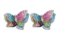 Sassy Clips Gun Metal Double Layer Butterfly with Multi Color Crystal Rhinestones