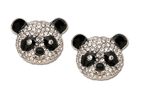 Sassy Clips Silver Panda with Clear Crystal Rhinestone Face and Black Epoxy Ears Eyes Nose