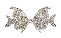 Sassy Clipes Silver Kissing Fish with AB Crystal Rhinestones
