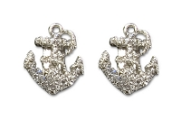 Sassy Clips Silver Anchor with Clear Crystal Rhinestones
