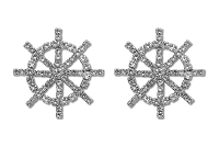 Sassy Clips Silver Ships Wheel with Clear Crystal Rhinestones