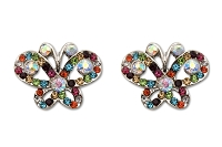 Sassy Clips Silver Petite Butterfly with Assorted Colors and AB Crystal  Rhinestones