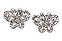 Sassy Clips Silver Petite Butterfly with Clear Crystal Rhinestones