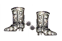 Sassy Clips Silver Riding Boot with Large and Small Clear Crystal Rhinestones