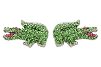Sassy Clips Silver Preppy Alligator with Peridot and Rose Crystal Rhinestones