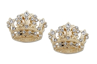 Sassy Clips Royal Gold Crown with Clear Crystal Rhinestones