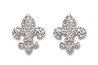 Sassy Clips Silver Small Fleur de Lis with Clear Crystal Rhinestones