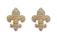 Sassy Clips Gold Small Fleur de Lis with Clear Crystal Rhinestones