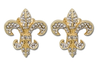 Sassy Clips Gold Provincial Fleur de Lis with Clear Crystal Rhinestones