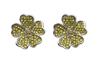Sassy Clips Silver Flower Petals with Citrine Crystal Rhinestones
