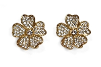 Sassy Clips Gold Flower Petals with Clear Crystal Rhinestones