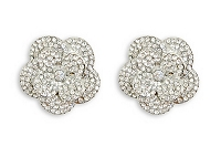 Sassy Clips Silver Camellia with Clear Crystal Rhinestones