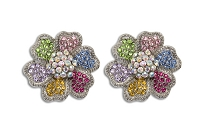Sassy Clips Silver Hibiscus with Multi Color Crystal Rhinestones