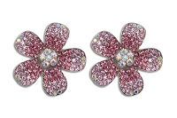 Sassy Clips Silver 2 Tone Plumeria with Rose-Light Rose-AB Crystal Rhinestone