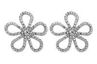 Sassy Clips Silver Open Flower with Clear Crystal Rhinestones