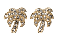 Sassy Clips Gold Palm Tree with Clear Crystal Rhinestones