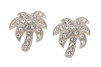 Sassy Clips Silver Palm Tree with Clear Crystal Rhinestones