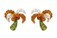 Sassy Clips Gold Festive Palm Tree with Clear-Topaz-Peridot Crystal Rhinestone