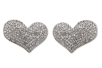 Sassy Clips  Silver Tiffany Heart with Clear and AB Crystal Rhinestones
