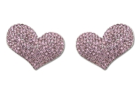 Sassy Clips Silver Tiffany Heart with Light Rose and Rose Crystal Rhinestones