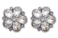 Sassy Clips Silver Petunia with 5 Tear Drop Shaped Clear Crystal Rhinestones