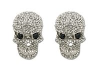 Sassy Clips Silver Edgy Skull with Clear Crystal Rhinestones and Black Crystal Eyes