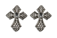 Sassy Clips Antique Silver Gothic Cross with Clear Crystal Rhinestones and Large Clear Acrylic Stone Center