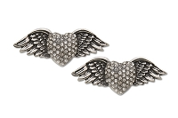 Sassy Clips Antique Silver Heart With Wings with Clear Crystal Rhinestones