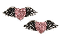 Sassy Clips Antique Silver Heart With Wings with Rose Crystal Rhinestones