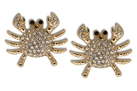 Sassy Clips Gold Crab with Clear Crystal Rhinestones