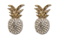 Sassy Clips Gold Clear Pineapple Crystal Rhinestone with Light Colorado Crystal Rhinestone Stems