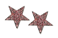Sassy Clips Silver Star with Light Rose Crystal Rhinestones