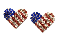 Sassy Clips Gold Love the USA with Sapphire Blue Ruby Red & Clear Crystal Rhinestone