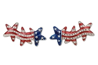 Sassy Clips Silver Stars & Stripes with 3 Clear Crystal Rhinestone Stars / Red & Blue Acrylic Stars & Stripes