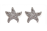 Sassy Clips Silver Small Starfish with Clear Crystal Rhinestones
