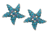 Sassy Clips Silver Petite Starfish with Aquamarine Crystal Rhinestone Rays and AB Crystal Rhinestone Center