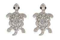 Sassy Clips Silver Baby Turtle with Clear Crystal Rhinestone Shell and Black Bead Eyes