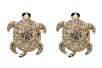 Sassy Clips Gold Turtle with Clear Crystal Rhinestones and Gold Plating Shell Trim