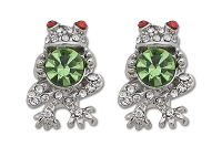 Sassy Clips Silver Frog with Clear-Peridot-Ruby Red Crystal Rhinestones