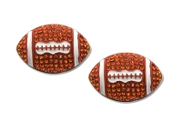 Sassy Clips Silver Large Football with Hyacinth Crystal Rhinestones and White Enamel Trim