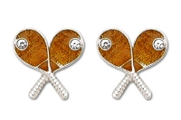 Sassy Clips Silver Tennis Rackets with Gold Epoxy Face and Clear Crystal Rhinestone Tennis Balls