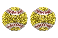Sassy Clips Silver Softball with Optic Yellow Crystal Rhinestones and Red Stitching Trim