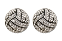 Sassy Clips Silver Volleyball with Clear Crystal Rhinestones and Black Enamel Trim