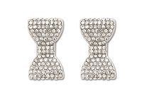 Sassy Clips Silver Petite Bow with Clear Crystal Rhinestones