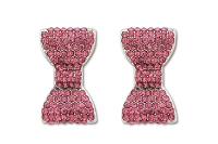 Sassy Clips Silver Petite Bow with Rose Crystal Rhinestones