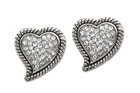 Sassy Clips Silver Petite Antique Heart with Clear Crystal Rhinestones and Antique Rope Rim